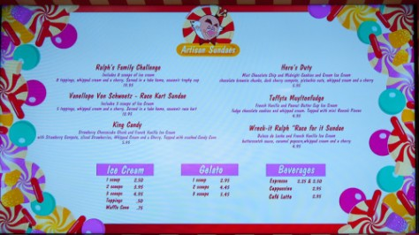 Vanellope's Sweets and Treast Menu